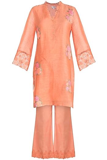Orange Embroidered Tunic Set by Krishna Mehta