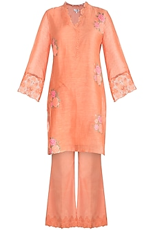 Orange Embroidered Tunic Set by Krishna Mehta