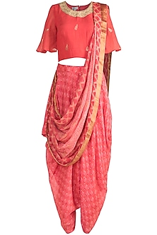 Red Embroidered Blouse & Dhoti Pants With Attached Dupatta by Krishna Mehta
