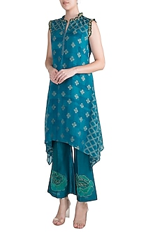 Turquoise Embroidered Printed Tunic With Pants by Krishna Mehta