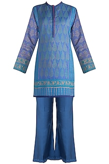 Blue Printed Tunic Set by Krishna Mehta