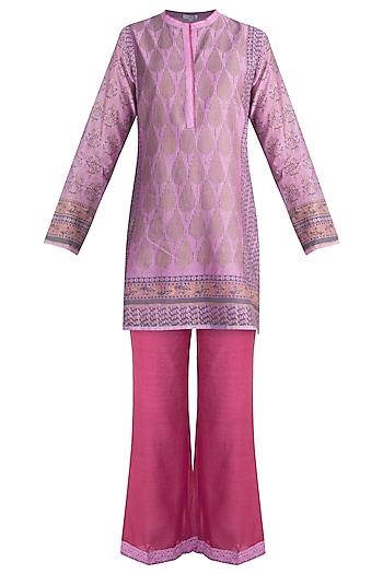 Lilac Printed Tunic Set by Krishna Mehta