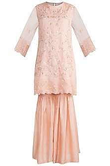 Peach Embroidered Banarasi Sharara Set by Krishna Mehta