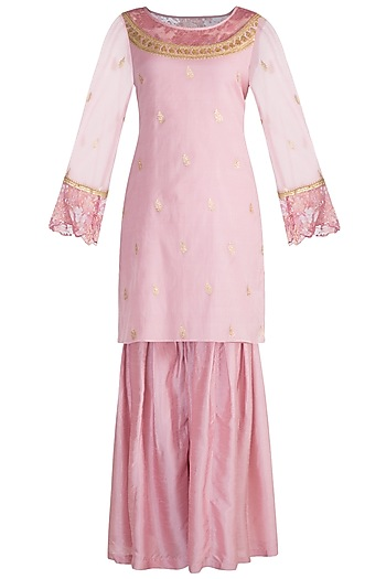 Pink Embroidered Banarasi Sharara Set by Krishna Mehta