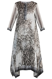 Grey & Dark Brown Marble Dye Printed Tunic by Krishna Mehta