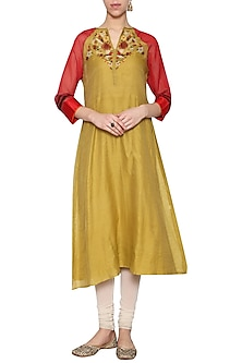 Mustard embroidered tunic by KRISHNA MEHTA
