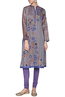 Grey blue printed embroidered tunic by KRISHNA MEHTA