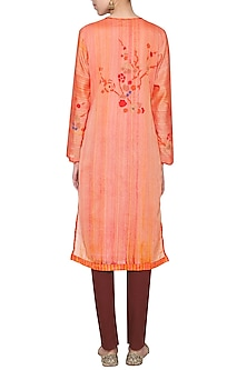 Coral embroidered tunic by KRISHNA MEHTA
