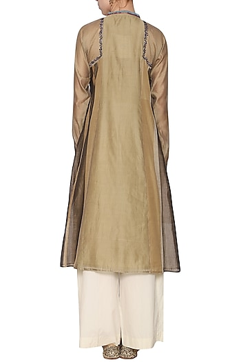 Dark beige embroidered tunic by KRISHNA MEHTA
