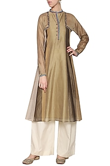 Dark beige embroidered tunic by KRISHNA MEHTA