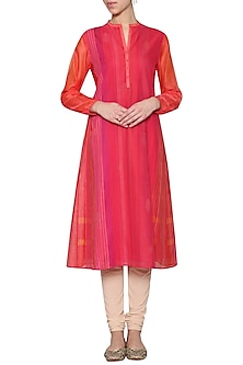 Fuschia embroidered printed tunic by KRISHNA MEHTA