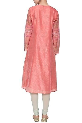 Rose pink embroidered tunic by KRISHNA MEHTA