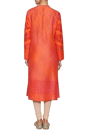 Red printed embroidered tunic by KRISHNA MEHTA