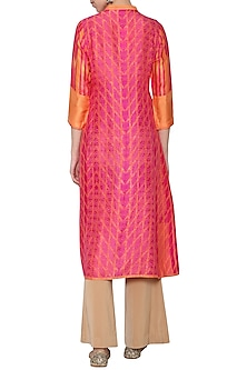Fuschia orange printed embroidered tunic by KRISHNA MEHTA