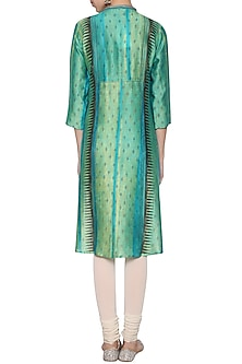 Turquoise textured embroidered tunic by KRISHNA MEHTA