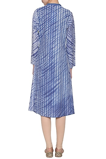 Blue tie-dye embroidered tunic by KRISHNA MEHTA