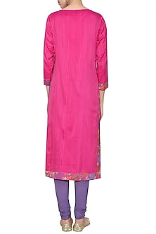 Fushia pink embroidered tunic with pants by KRISHNA MEHTA