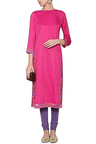 Fushia pink embroidered tunic with pants by KRISHNA MEHTA