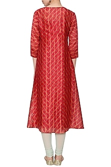Maroon printed embroidered tunic by KRISHNA MEHTA