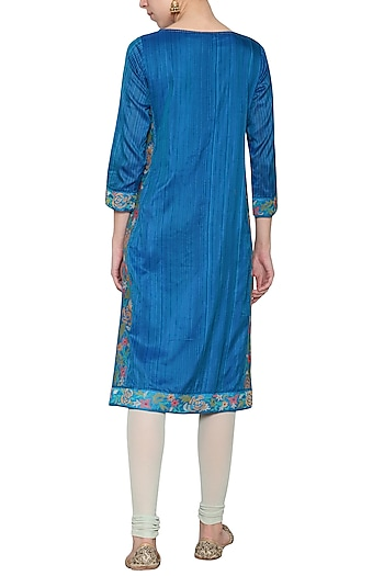 Blue chanderi embroidered tunic by KRISHNA MEHTA