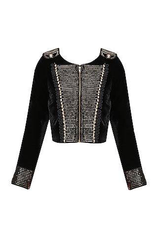 Black Velvet Military Jacket by Karn Malhotra