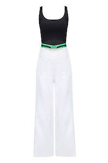 White and Black Ankle Length Belted Jumpsuit by Karn Malhotra