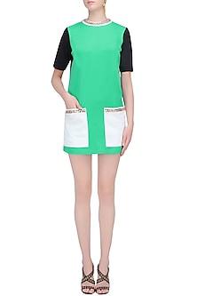 Green, Black and White Shift Dress by Karn Malhotra