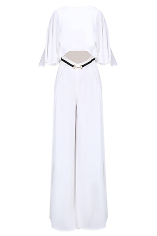 White and Gold Buckle Belt Cape Jumpsuit by Karn Malhotra
