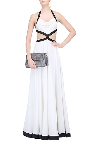White Monochrome Flared Backless Gown by Karn Malhotra