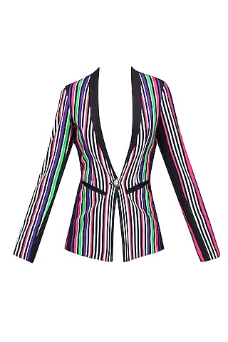 White, Black, Green, Pink and Purple Striped Full Sleeves Jacket by Karn Malhotra