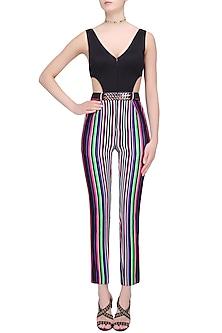 White, Black, Green, Pink and Purple Striped One Piece Bodysuit by Karn Malhotra