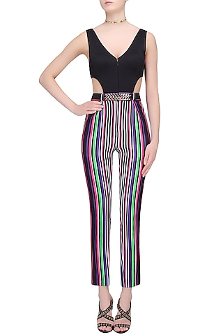 White, Black, Green, Pink and Purple Striped One Piece Bodysuit by Karn Malhotra