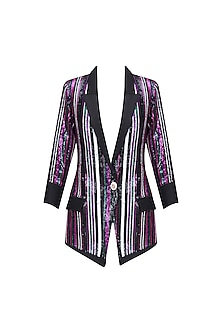 Black, Green, Pink and Purple Sequins Striped Jacket by Karn Malhotra