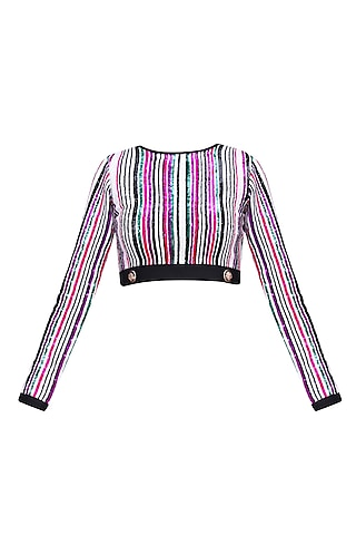 White, Green, Pink and Purple Sequins Striped Crop Top by Karn Malhotra