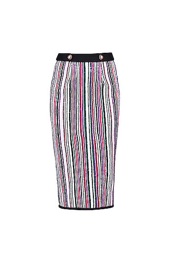 White, Green, Pink and Purple Sequins Striped Fitted Skirt by Karn Malhotra