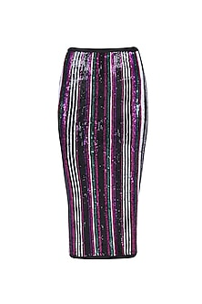 Black, Green, Pink and Purple Sequins Striped Fitted Skirt by Karn Malhotra