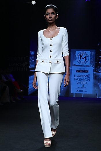 Off White Safari Suit by Karn Malhotra