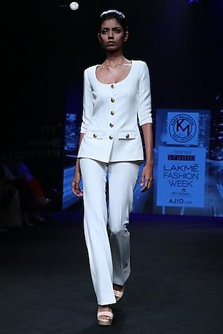 Off White Safari Suit by Karn Malhotra