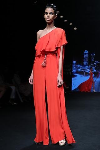 Flamingo Orange Jumpsuit by Karn Malhotra