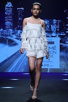 White Layered Mini Dress by Karn Malhotra