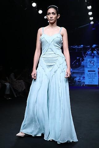Powder Blue Maxi Dress by Karn Malhotra