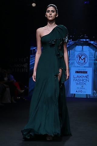 Forest Green Ruffled Gown by Karn Malhotra