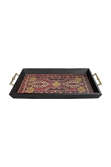 Multicolor Wooden Koliai Serving Tray With Metal Handles by Karo