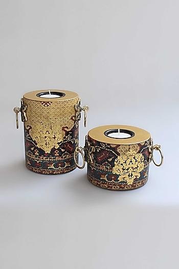 Gold Amrapali Pillar Candle Holders (Set of 2) by Karo
