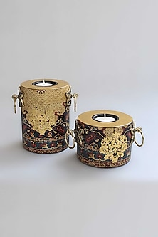 Gold Amrapali Pillar Candle Holders (Set of 2) by Karo