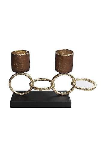 Dynasty Candle Stand In Gold & Brown by Karo