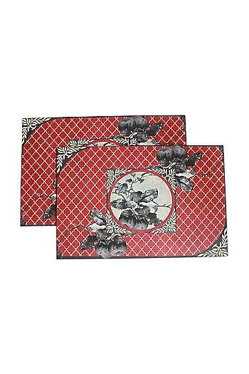 Wooden Aafreen Placement Mat In Red (Set Of 6) by Karo
