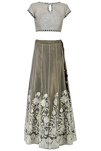 Beige and gold embroidered lehenga set by KRASNA