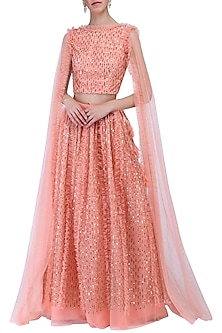 Peach embroidered lehenga set by KRASNA