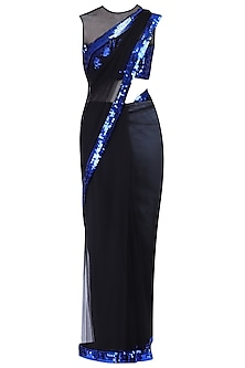 Black sequins saree set by KRASNA